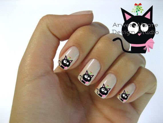 Рисунки кошек на ногти
